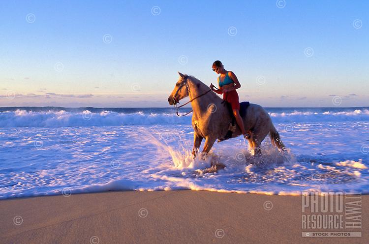 Woman horseback riding along the waters off sunset beach, Oahu