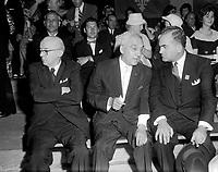 Assemblee de L'Union Nationale a Trois-Rivieres -  Paul Beaulieu, Gerald Martineau et Maurice Bellemarre<br /> , le 29 mai 1960<br /> <br /> Photographe : Photo Moderne - Agence Quebec Presse