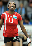 Rüsselsheim, Germany, April 13: Liana Mesa Luaces #11 of the Rote Raben Vilsbiburg reacts to a play during play off Game 1 in the best of three series in the semifinal of the DVL (Deutsche Volleyball-Bundesliga Damen) season 2013/2014 between the VC Wiesbaden and the Rote Raben Vilsbiburg on April 13, 2014 at Grosssporthalle in Rüsselsheim, Germany. Final score 0:3 (Photo by Dirk Markgraf / www.265-images.com) *** Local caption ***