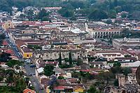 Antigua, Guatemala.  View from Cerro de la Cruz.  San Jose Cathedral and Ruins facing Plaza de Armas, Palacio de los Capitanes Generales.