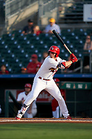 Palm Beach Cardinals Nolan Gorman (18) at bat during a Florida State League game against the Clearwater Threshers on August 9, 2019 at Roger Dean Chevrolet Stadium in Jupiter, Florida.  Palm Beach defeated Clearwater 3-0 in the second game of a doubleheader.  (Mike Janes/Four Seam Images)