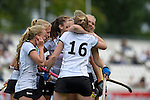GER - Mannheim, Germany, May 24: During the U16 Girls match between Australia (green) and Germany (white) during the international witsun tournament on May 24, 2015 at Mannheimer HC in Mannheim, Germany. Final score 0-6 (0-3). (Photo by Dirk Markgraf / www.265-images.com) *** Local caption *** Emma Davidsmeyer #4 of Germany, Pia Maertens #16 of Germany, Emily Kerner #17 of Germany