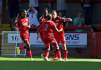 Jimmy Smith (right) of Crawley Town celebrates after scoring the opening goal during the Sky Bet League 2 match between Crawley Town and Wycombe Wanderers at Broadfield Stadium, Crawley, England on 6 August 2016. Photo by Alan  Stanford / PRiME Media Images.