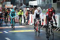 a 'crooked' Bauke Mollema (NLD/Trek-Segafrdo) crossing the finish line <br /> <br /> 102nd Liège-Bastogne-Liège 2016