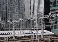 N700 Sanyo Shinkansen is approaching to Tokyo station.