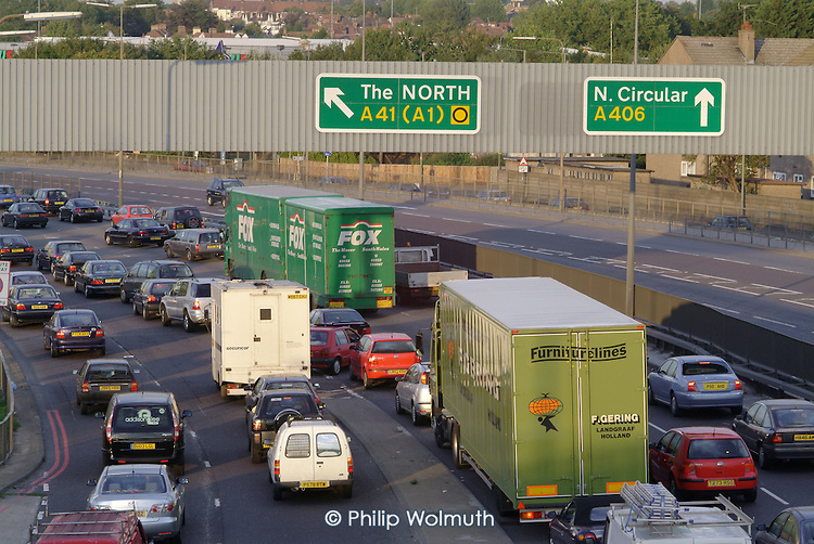 Rush hour traffic on the North Circular Road in West London.