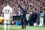 Coach Santiago Solari of Real Madrid during La Liga match between Atletico de Madrid and Real Madrid at Wanda Metropolitano in Madrid Spain. February 09, 2018. (ALTERPHOTOS/Borja B.Hojas)