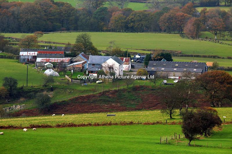 A farm in Llangammarch Wells, Powys, Wales, UK