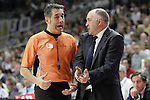 Real Madrid's coach Pablo Laso have words with the referee during Liga Endesa ACB match.Apri 12,2015. (ALTERPHOTOS/Acero)
