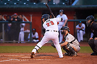 Lansing Lugnuts Alejandro Kirk (23) at bat during a Midwest League game against the Wisconsin Timber Rattlers at Cooley Law School Stadium on May 2, 2019 in Lansing, Michigan. Lansing defeated Wisconsin 10-4. (Zachary Lucy/Four Seam Images)