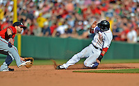 9 June 2012: Boston Red Sox shortstop Mike Aviles steals second in the 5th inning against the visiting Washington Nationals at Fenway Park in Boston, MA. The Nationals defeated the Red Sox 4-2 in the second game of their 3-game series. Mandatory Credit: Ed Wolfstein Photo