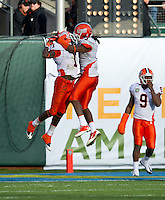 SAN FRANCISCO, CA - December 31, 2011: Illinois cornerback Terry Hawthorne (1) scores a touchdown against UCLA at AT&T Park in San Francisco, California. Final score Illinois wins 20-14.