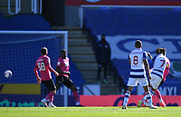5th April 2021; Madejski Stadium, Reading, Berkshire, England; English Football League Championship Football, Reading versus Derby County; Michael Olise of Reading shoots and scores in 45th minute for 1-0