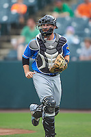 Akron RubberDucks catcher Eric Haase (13) during the first game of a doubleheader against the Bowie Baysox on June 5, 2016 at Prince George's Stadium in Bowie, Maryland.  Bowie defeated Akron 6-0.  (Mike Janes/Four Seam Images)