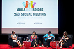 25 June, 2018, Kuala Lumpur, Malaysia : From left- Vimbai Ndonde of Zimbabwe, Madhu Meehra of India, Faith Mwangi-Powell of the UK and Laura Vidal (Good Shepherd) at the panel discussion on Value and Risk of Criminalising Child Marriage on the opening day at the Girls Not Brides Global Meeting 2018 at the Kuala Lumpur Convention Centre. Picture by Graham Crouch/Girls Not Brides