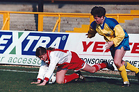Kelly Smith of Wembley takes a tumble during Doncaster Belles vs Wembley Ladies, FA Women's Premier League Cup Final Football at Underhill, Barnet FC on 10th March 1996