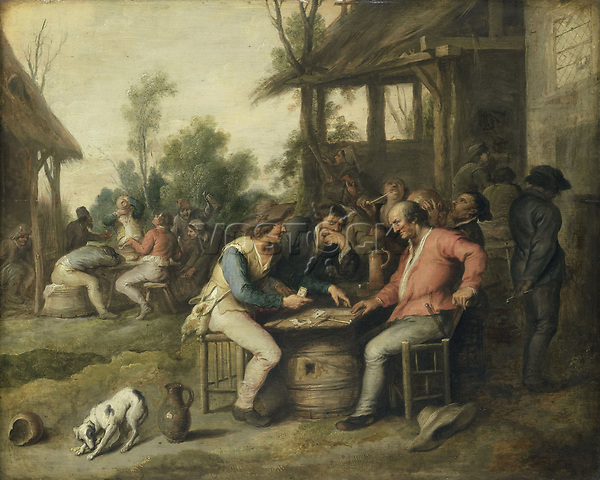 Farmers playing cards at an inn - by Vincent Malo, 1623 - 1650