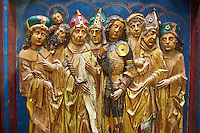 Painted Gothic wooden Fourteen Intercessors altarpiece made at the end of the 15th century in Franconia.  The panel depict 14 saints in total. Inv RF 2531,  The Louvre Museum, Paris.