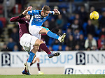 St Johnstone v Hearts…05.04.17     SPFL    McDiarmid Park<br />Steven MacLean and Alexandros Tziolis<br />Picture by Graeme Hart.<br />Copyright Perthshire Picture Agency<br />Tel: 01738 623350  Mobile: 07990 594431