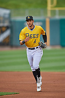 Jake Gatewood (8) of the Salt Lake Bees trots off the field against the Tacoma Rainiers at Smith's Ballpark on May 16, 2021 in Salt Lake City, Utah. The Bees defeated the Rainiers 8-7. (Stephen Smith/Four Seam Images)