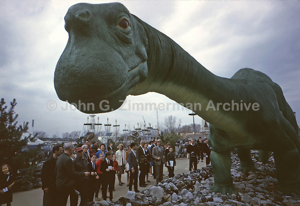 """Dinoland,"" 1964 World's Fair, Flushing Meadows, New York. The Dinosaur exhibit was sponsored by Sinclair Oil and featured life-size, fiberglass replicas of nine different dinosaurs, including Sinclair Oil's signature green Brontosaurus. Photo by John G. Zimmerman."