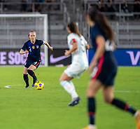ORLANDO, FL - FEBRUARY 24: Becky Sauerbrunn #4 of the USWNT dribbles during a game between Argentina and USWNT at Exploria Stadium on February 24, 2021 in Orlando, Florida.