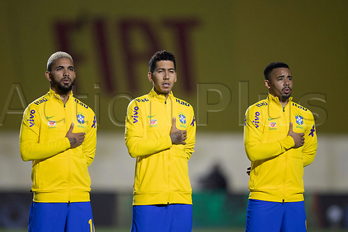13th November 2020; Morumbi Stadium, Sao Paulo, Sao Paulo, Brazil; World Cup 2022 qualifiers; Brazil versus Venezuela;  Douglas Luiz, Roberto Firmino and Gabriel Jesus of Brazil during the anthems