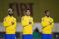 13th November 2020; Morumbi Stadium, Sao Paulo, Sao Paulo, Brazil; World Cup 2022 qualifiers; Brazil versus Venezuela;  Douglas Luiz, Roberto Firmino and Gabriel Jesus of Brazil during the anthems