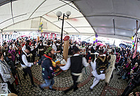 Pictured: Men and women dance traditional dances in Tirnavos, central Greece. 19 February 2018<br /> Re: Bourani (or Burani) the infamous annual carnival which dates to 1898 which takes place on the day of (Clean Monday), the first days of Lent in Tirnavos, central Greece, in which men hold phallus shaped objects as scepters in their hands.