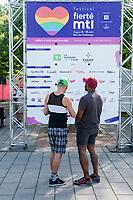 L'arrivee du rallie de velo PWA, au Parc des faubourgs, le 16 aout 2019, dans le cadre des celebration de la fierte gai de Montreal (fierte 2019)<br /> <br /> <br /> PHOTO : Agence Quebec Presse - stringer