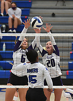 Fayetteville's Regan Harn (6) and Brooke Rockwell block a shot by Rogers' Phoenix Bailey Tuesday Sept. 8, 2020 at King Arena in Rogers. Visit nwaonline.com/2000908Daily/ for a photo gallery. (NWA Democrat-Gazette/J.T.WAMPLER)