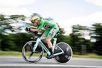 eventual stage winner Wout Van Aert (BEL/Jumbo-Visma)<br /> <br /> Stage 4 (ITT): Roanne to Roanne (26.1km)<br /> 71st Critérium du Dauphiné 2019 (2.UWT)<br /> <br /> ©kramon