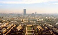 Paris: Looking Southeast/South from Eiffel Tower to Champ Du Mars with Montparnasse in background.