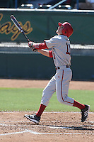 Will Nolden #11 of the Indiana Hoosiers bats against the Long Beach State Dirtbags at Blair Field on March 15, 2014 in Long Beach, California. Indiana defeated Long Beach State 2-1. (Larry Goren/Four Seam Images)