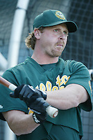 Jeremy Giambi of the Oakland Athletics before a 2002 MLB season game against the Los Angeles Angels at Angel Stadium, in Anaheim, California. (Larry Goren/Four Seam Images)