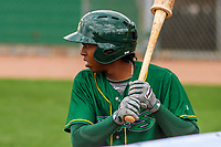 Beloit Snappers shortstop Eric Marinez (2) waits on deck during a Midwest League game against the Peoria Chiefs on April 15, 2017 at Pohlman Field in Beloit, Wisconsin.  Beloit defeated Peoria 12-0. (Brad Krause/Four Seam Images)