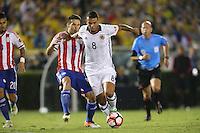 Pasadena, CA - Tuesday June 07, 2016: Colombia midfielder Edwin Cardona (8) and Paraguay midfielder Celso Ortiz (16) during a Copa America Centenario Group A match between Colombia (COL) and Paraguay (PAR) at Rose Bowl Stadium.