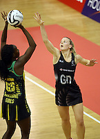 14.09.2016 Silver Ferns Katrina Grant in action during the Taini Jamison netball match between the Silver Ferns and Jamaica played at Arena Manawatu in Palmerston North. Mandatory Photo Credit ©Michael Bradley.
