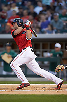 Trevor Kieboom (42) of the Georgia Bulldogs follows through on his swing against the Charlotte 49ers at BB&T Ballpark on March 8, 2016 in Charlotte, North Carolina. The 49ers defeated the Bulldogs 15-4. (Brian Westerholt/Four Seam Images)