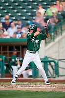 Fort Wayne TinCaps shortstop Justin Lopez (1) at bat during a game against the West Michigan Whitecaps on May 17, 2018 at Parkview Field in Fort Wayne, Indiana.  Fort Wayne defeated West Michigan 7-3.  (Mike Janes/Four Seam Images)