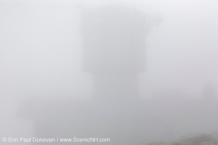 Appalachian Trail - The summit of Mount Washington in the New Hampshire White Mountains engulfed in fog during the summer months. Mount Washington is known for having some of the worst weather in the world.