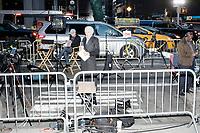 Trump Election Night Party set-up - Midtown Manhattan Voting Lines - New York NY - 8 Nov 2016