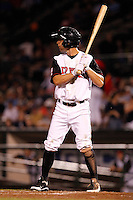 Rochester Red Wings outfielder Brandon Roberts #5 at bat during a game against the Lehigh Valley IronPigs at Frontier Field on August 18, 2011 in Rochester, New York.  Lehigh Valley defeated Rochester 11-1.  (Mike Janes/Four Seam Images)