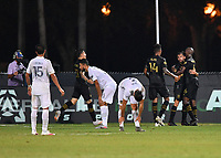 LAKE BUENA VISTA, FL - JULY 18: Diego Rossi #9 of LAFC celebrates a goal with teammates during a game between Los Angeles Galaxy and Los Angeles FC at ESPN Wide World of Sports on July 18, 2020 in Lake Buena Vista, Florida.