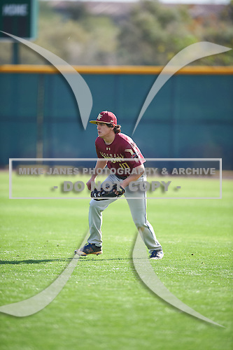 Liam Cogswell (10) of Saint John Paul Ii Academy High School in Boca Raton, Florida during the Under Armour All-American Pre-Season Tournament presented by Baseball Factory on January 14, 2017 at Sloan Park in Mesa, Arizona.  (Mike Janes/Mike Janes Photography)