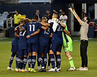 KANSAS CITY, KS - OCTOBER 07: Sporting KC starting XI huddle up before the game between Chicago Fire and Sporting Kansas City at Children's Mercy Park on October 07, 2020 in Kansas City, Kansas.