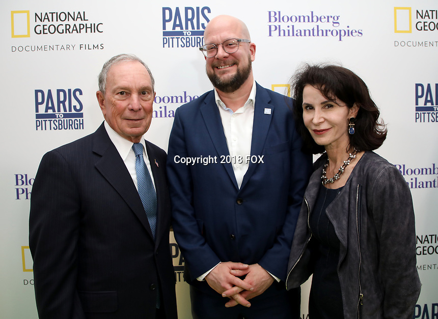 """LONDON, UK - DECEMBER 11:  Michael Bloomberg, Theo Blackwell and Katherine Oliver attend the London Premiere of Bloomberg and National Geographic's """"Paris to Pittsburgh"""" at the BAFTA Theatre on December 11, 2018 in London, UK. (Photo by Vianney Le Caer/National Geographic/PictureGroup)"""