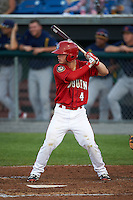 Auburn Doubledays second baseman Dalton Dulin (4) at bat during a game against the State College Spikes on July 6, 2015 at Falcon Park in Auburn, New York.  State College defeated Auburn 9-7.  (Mike Janes/Four Seam Images)