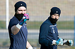 St Johnstone Training…….03.03.20<br />Keepers Zander Clark and Elliott Parish pictured during training this morning at McDiarmid Park ahead of tomorrow night's game at St Mirren.<br />Picture by Graeme Hart.<br />Copyright Perthshire Picture Agency<br />Tel: 01738 623350  Mobile: 07990 594431