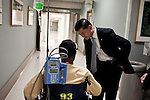 October 23, 2009. Durham, North Carolina.. Eric Shinseki, Secretary of Veterans Affairs for the Obama administration, visited Durham to meet with officials and veterans at the VA hospital, as well as to attend several events and meetings on the Duke University campus.. Sec. Shinseki greets a patient at the VA hospital.